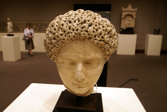 Roman marble portrait head of Julia Titi