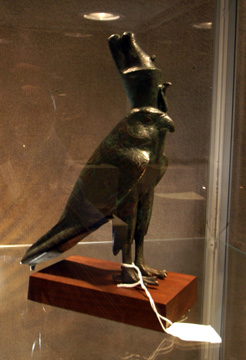 Egyptian bronze statue of horus falcon
