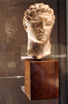 Greek terracotta head of a god or athlete