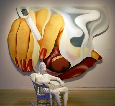 """Smoker #17,"" by Wesselmann, and ""Woman in a White Wicker Rocker"" by Segal"