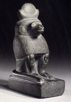 Egyptian schist figure of a baboon