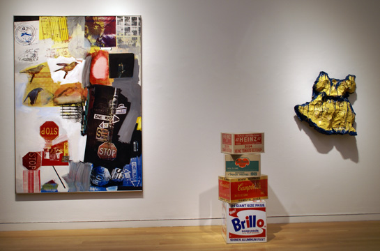 """Overdrive"" by Rauschenberg, left, set of boxes by Warhol, center, and yellow girl's dress by Oldenberg, right"