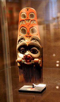 Tlingit Polychromed wood comb