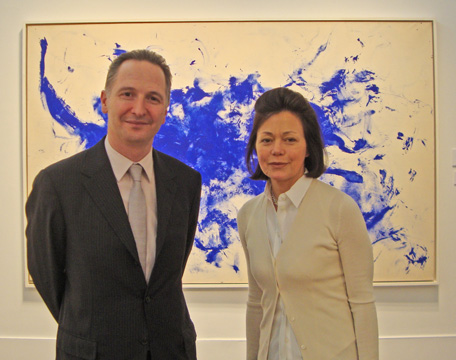 Brett Gorvy and Laura Paulsen in front of work by Yves Klein