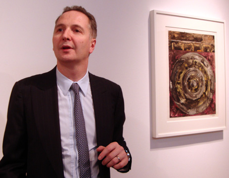 Brett Gorvy with Jasper Johns's ink on pastic