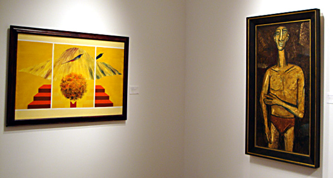 """Bird, Tree and Mountain Series"" by Swaminathan, left, and ""Male Nude"" by Souza, right"
