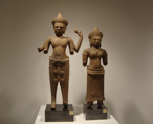 Sandstone figures of Visnu and Laksmi from Khmer