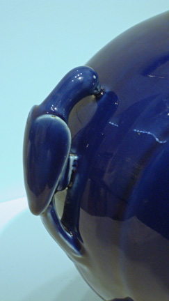 Detail of blue glazed handle