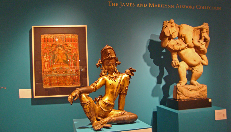 Figure of Indra from Nepal, left; figure of Ganesha from India, right