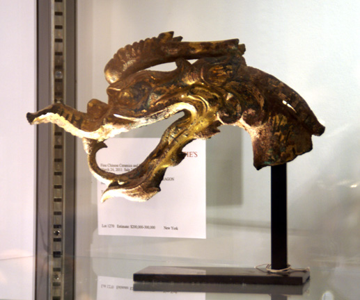 Gilt-bronze dragon head terminal