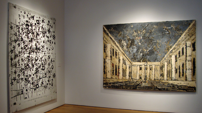 """Untitled"" by Wool, left, and ""Dem Unbekannen Maler (To the Unknown Painter) by Kiefer, right"