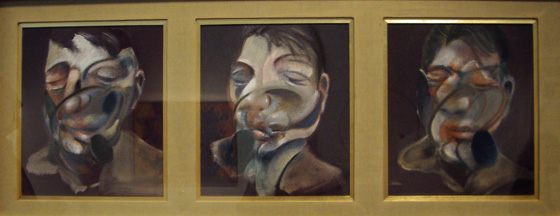 Three self-portrait studies by Bacon