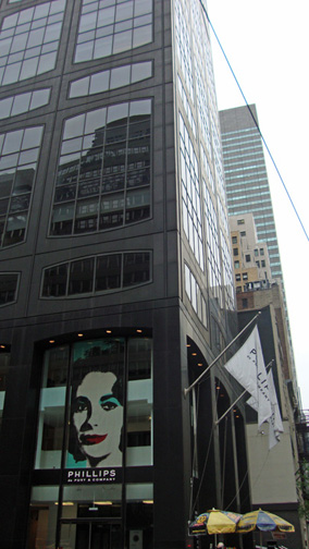"Poster of Andy Warhol's ""Elizabeth Taylor"" in window"