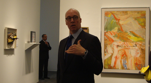 "Anthony Grant in front of de Kooning's ""Woman in a Landscape"""