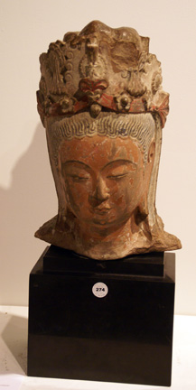 Painted stucco head of a Bodhisattva