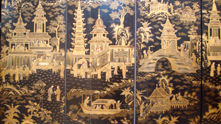 detail of 8-panel gilt lacquer screen