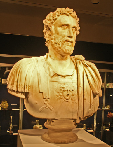 Roman bust of man in armor