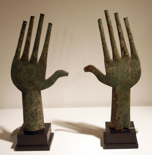 Pair of Villanovian bronze votive hands