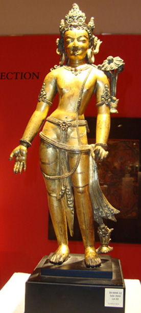 Nepalese gilt bronze  figure of Padmapani