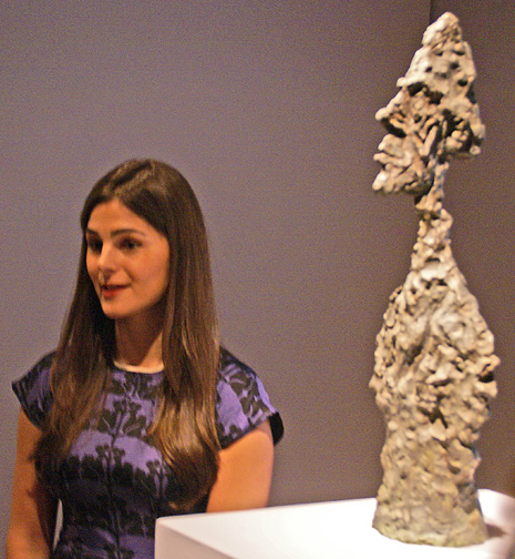 Brooke Lampey of Christie's with large head by Giacometti