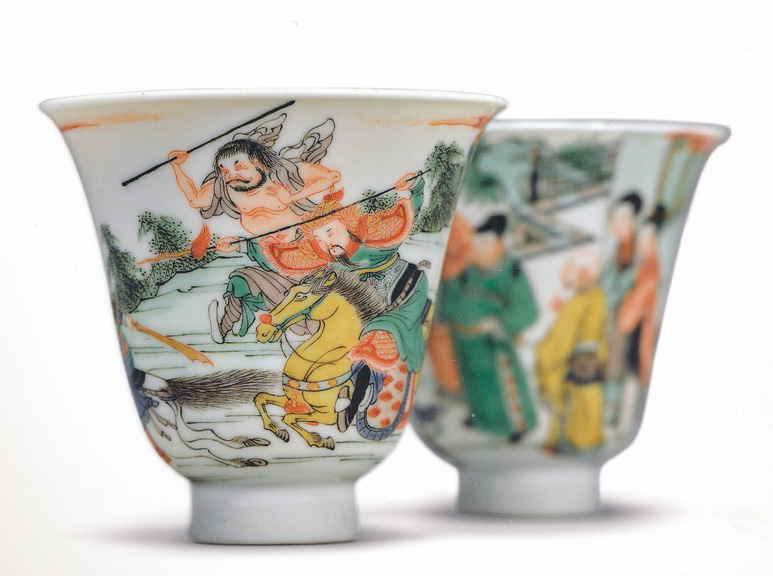 Pair of Romance of the Western Chamber cups