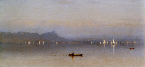 "Large detail of ""Morning on the Hudson, Haverstraw Bay"" by Gifford"