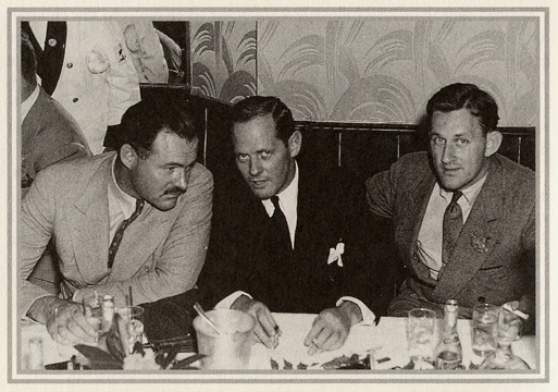 Ernest Hemingway, Sherman Billinsgley and John O'Hara at the Stork Club