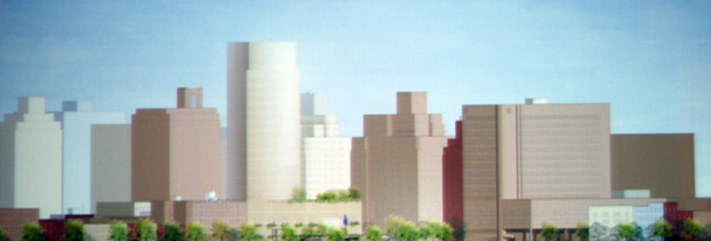 Rendering showing new tower's height relationship to Coleman Building