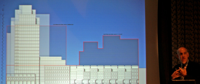 11th Street elevation with existing buildings outlined in red