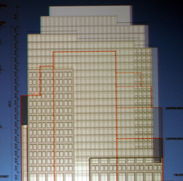 Elevation of new residential building on avenue with existing buildings outlined in red