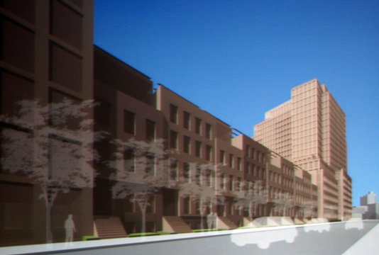 Rendering of proposed residential development on south side of 12th Street looking west