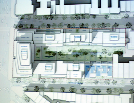 Revised plan for properties east of Seventh Avenue with townhouses shown in light blue