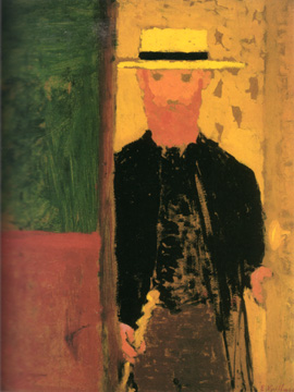 """Self-portrait with cane and straw hat"""