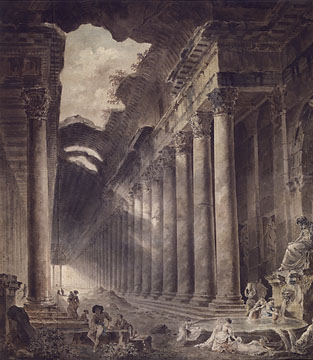 Colonnaded Building with figures by Hubert Robert