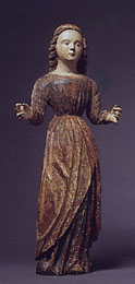Italian painted wood figure of a female saint
