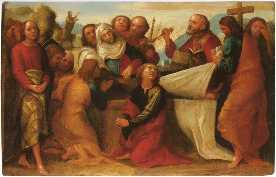 """The Apostles Burying The Virgin"" by Caroto"