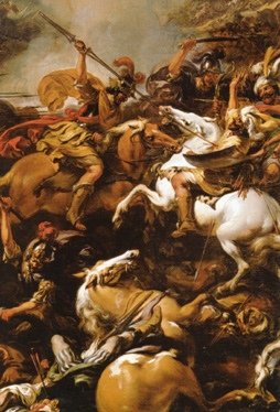 "Detail of ""The Battle Between Alexander and Porus"" by Berchem"