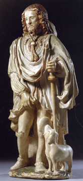"""Saint Roch with his dog,"" parcel-gilt alabaster figure"