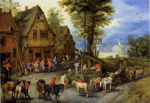"""A Village Street with the Holy Family"" by Jan Brueghel the Younger"