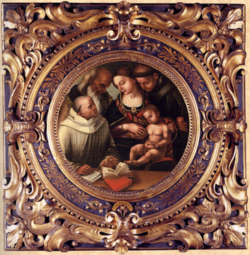 "'Madonna and Child with saints..."" by Signorelli and studio"