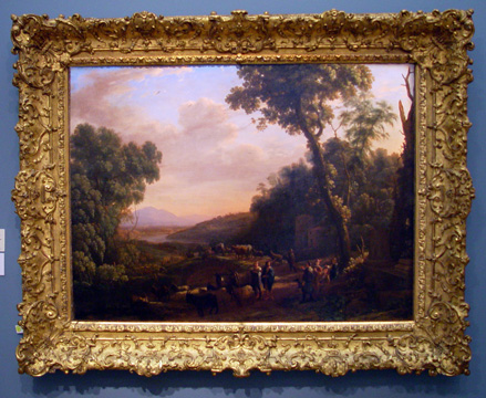 """Pastoral landscape with huntsmen"" by Claude"