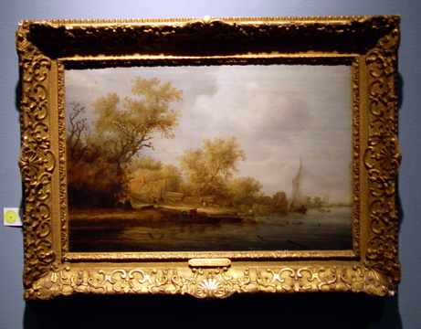 """River landscape with boatbuilders' by Ruysdael"