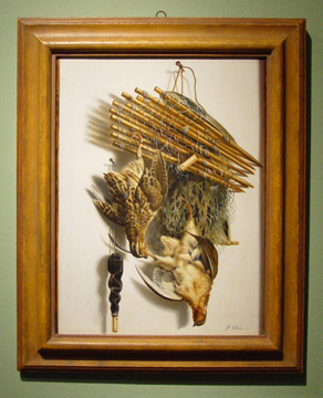 """Trompe l'Oeil Still Life with Quails, Kingfisher, Bird Net and Whistle"" by Biltius"