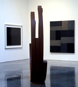 Sculpture center by Venet and painting, right, by Sean Scully