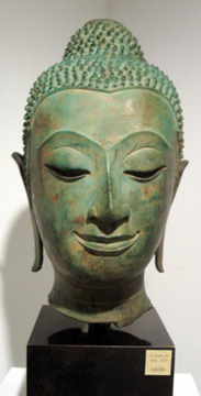 Bronze head of Buddha from Thailand