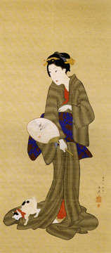 """Beauty holding a fan and a cat"" by Hiroshige"
