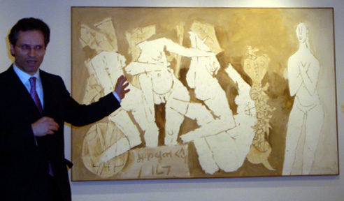 Dr. Hugo Weihe with untitled work by Maqbool Fida Husain