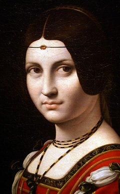 "Large detail of ""La Belle Ferroniere"" by follower of da Vinci probably before 1750"