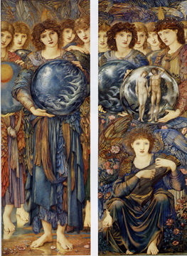 "Two of five panels of ""The Days of Creation"" by Edward Burne-Jones"