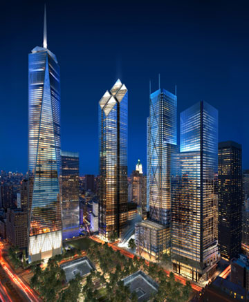 Night-time renderings of new towers at Ground Zero